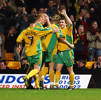 PICTURE BY DANIEL HAMBURY/SPORTSBEAT IMAGES<br /> Nationwide Football League Division One    <br /> <br /> NORWICH V GILLINGHAM  16/3/04<br /> <br /> Norwich City's Paul McVeigh celebrates his goal, Norwich's third