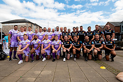 Exeter Chiefs players pose for a team photo at the Launch after rowing down the Quay and walking through fans to launch the new Home and European kits for the upcoming 2019/20 season - Ryan Hiscott/JMP - 19/07/2019 - SPORT - Exeter Quay - Exeter, England - Exeter Chiefs Kit Launch