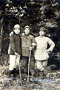 portrait of three men on a hiking trip Japan early 1900s