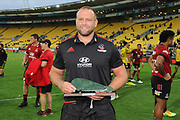 Crusaders Joe Moody following his 100th Super Rugby match, Hurricanes v Crusaders, Sky Stadium, Wellington, Sunday, April 11, 2021. Copyright photo: Kerry Marshall / www.photosport.nz