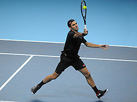 Tennis - 2019 Nitto ATP Finals at The O2 - Day Three<br /> <br /> Singles Group Bjorn Borg: Roger Federer (Switzerland) vs. Matteo Berrettini (Italy)<br /> <br /> Roger Federer (Sui)<br /> <br /> COLORSPORT/ANDREW COWIE
