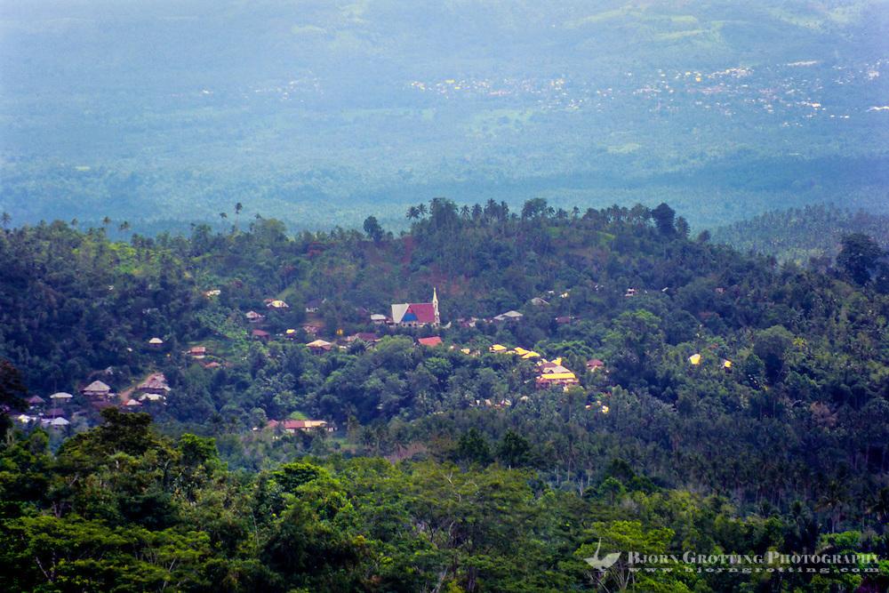 Indonesia, Sulawesi, Rurukan. Village church in the Rurukan area not far from Tomohon in the Minahasa highland.