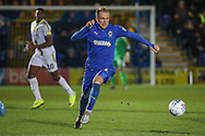 AFC Wimbledon midfielder Mitchell (Mitch) Pinnock (11) dribbling during the EFL Sky Bet League 1 match between AFC Wimbledon and Burton Albion at the Cherry Red Records Stadium, Kingston, England on 28 January 2020.