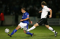 Photo: Rich Eaton.<br /> <br /> Hereford United v Leicester City. Carling Cup. 19/09/2006. James Wesoloski of Leicester left, beats Herefords Richard Rose