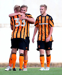 Jarrod Bowen celebrates with teammates after scoring a goal - Mandatory by-line: Robbie Stephenson/JMP - 18/07/2017 - FOOTBALL - Estadio da Nora - Albufeira,  - Hull City v Bristol Rovers - Pre-season friendly