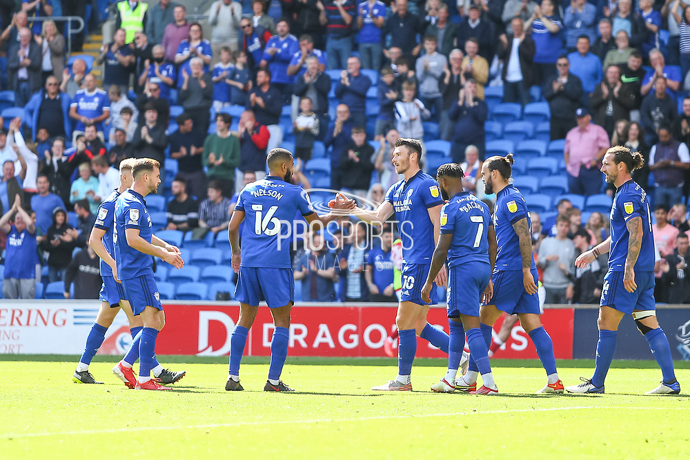 CELE Cardiff City forward Kieffer More (10) celebrates his side's equalising goal to make the score 1-1 during the EFL Sky Bet Championship match between Cardiff City and Bristol City at the Cardiff City Stadium, Cardiff, Wales on 28 August 2021.