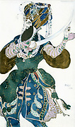 Costume design by Leon Bakst (1866-1924) for the Shah of Persia in 'Scheherazade'  produced in 1910 by Sergei Diaghilev's Ballets Russes. Music by Nikolai Rimsky-Korsakov, choreography by Michel Fokine.