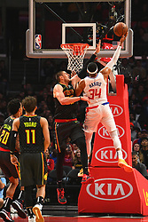 January 28, 2019 - Los Angeles, CA, U.S. - LOS ANGELES, CA - JANUARY 28: Atlanta Hawks Center Alex Len (25) defends Los Angeles Clippers Forward Tobias Harris (34) drive to the basket during a NBA game between the Atlanta Hawks and the Los Angeles Clippers on January 28, 2019 at STAPLES Center in Los Angeles, CA. (Photo by Brian Rothmuller/Icon Sportswire) (Credit Image: © Brian Rothmuller/Icon SMI via ZUMA Press)