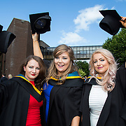 26.08.2016        <br /> University of Limerick Interfaculty Conferring Ceremony.<br /> <br /> Attending the conferring ceremony were Bachelor of Science (Education) in Physical Science graduates, Fiona O'Connell, Buttervant Co. Cork, and Linda Byrne, Macroom Co. Cork with Bachelor of Science (Education) in Biological Science graduate, Amy Reynolds, Tuamgraney, Co. Clare. Picture: Alan Place.