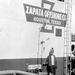 HS319   George W. Bush stands in front of the Zapata Offshore Company in Houston, TX,<br /> 1956.<br /> Photo Credit:  George Bush Presidential Library