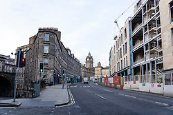 Edinburgh, Scotland, UK. 18 March 2020. Coronavirus scare leads to empty streets in Edinburgh. Pictured is top of Leith Walk which is normally busy during morning rush hour. Edinburgh,. Iain Masterton/Alamy Live News.