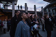 April 1, 2016; Indianapolis, Ind.; Adriana Dent, Dominique Brooks, Shaina Afoa, Sierra Afoa and Hannah Wandersee watch the show at the Women's Final Four Salute at the Indianapolis Motor Speedway.