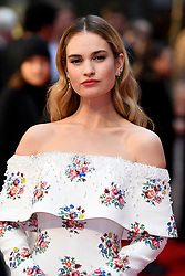 Lily James attending the world premiere of The Guernsey Literary and Potato Peel Pie Society at the Curzon Mayfair, London. Photo credit should read: Doug Peters/EMPICS Entertainment