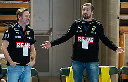 Martin Schwalb, coach of Loewen and his assistant coach Oliver Roggisch during handball match between RK Trimo Trebnje and Rhein-Neckar Loewen in 6th Round of EHF Europe League 2020/21, on February 9, 2021 in Hala Tivoli, Ljubljana, Slovenia. Photo by Vid Ponikvar / Sportida