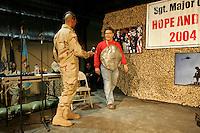 USO show at Abu Ghraib prison<br /><br />photograph by Owen Franken/USO<br /><br />Sgt Maj of the Army Kenneth Preston