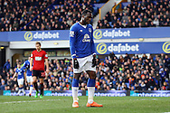 Romelu Lukaku of Everton looks dejected as Everton miss another chance. Barclays Premier League match, Everton v West Bromwich Albion at Goodison Park in Liverpool on Saturday 13th February 2016.<br /> pic by Chris Stading, Andrew Orchard sports photography.