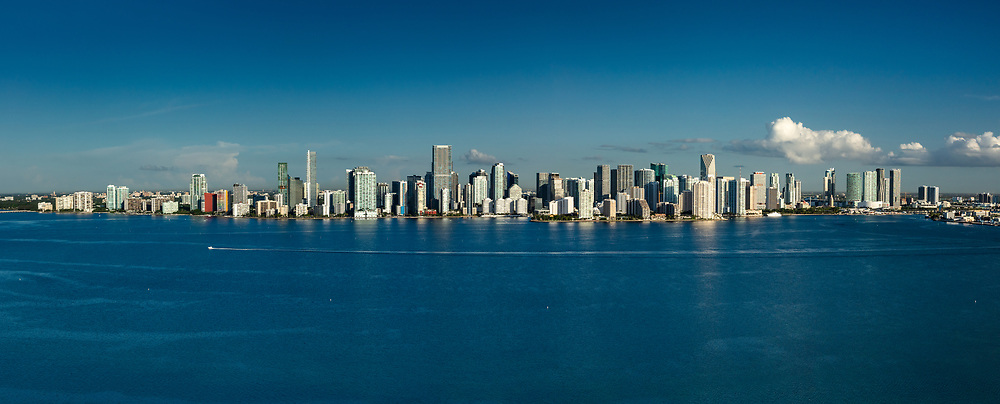 Miami skline panorama in morning light, viewed from Biscayne Bay.