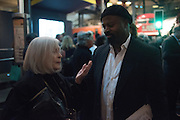 DORIS SAATCHI; BEN OKRI, Beauty- Immortality, Frank Pick , unveiling of a  new artwork by Langlands & Bell at Piccadilly Circus Station  and the  VIP Reception at London Transport Museum, Covent Garden. 7 November 2016