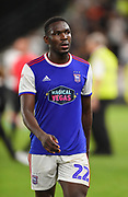 Ipswich Town defender Aristote Nsiala (22) during the EFL Sky Bet Championship match between Derby County and Ipswich Town at the Pride Park, Derby, England on 21 August 2018.
