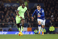Yaya Toure of Manchester City gets away from Muhamed Besic of Everton. Capital one cup semi final 1st leg match, Everton v Manchester city at Goodison Park in Liverpool on Wednesday 6th January 2016.<br /> pic by Chris Stading, Andrew Orchard sports photography.
