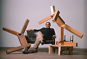 """Sculptor Joel Shapiro at his studio in New York.  He is considered a significant moderist sculptor for his basic figures, a kind of Post-Minimalist link between the minimalism of the 60's later """"content-driven"""" art ."""