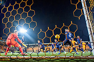 Ryan Hardie (#9) of Livingston FC scores his second goal during the Ladbrokes Scottish Premiership match between Livingston FC and Heart of Midlothian FC at the Tony Macaroni Arena, Livingston, Scotland on 14 December 2018.