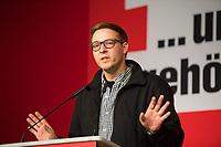 DEU, Deutschland, Germany, Berlin, 10.12.2016: Sebastian Koch, neuer Landesgeschäftsführer von Die Linke, beim Landesparteitag von Die Linke im WISTA-Veranstaltungszentrum Adlershof.