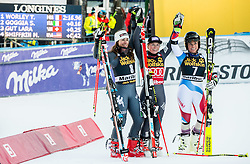 Second placed Sofia Goggia (ITA), winner Tessa Worley (FRA) and third placed Lara Gut (SUI) celebrate after the 6th Ladies' Giant slalom at 53rd Golden Fox - Maribor of Audi FIS Ski World Cup 2015/16, on January 7, 2017 in Pohorje, Maribor, Slovenia. Photo by Vid Ponikvar / Sportida