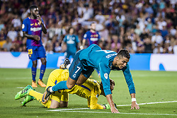 August 13, 2017 - Barcelona, Catalonia, Spain - Real Madrid forward RONALDO flies over FC Barcelona goalkeeper TER STEGEN during the Spanish Super Cup Final 1st leg against FC Barcelona at the Camp Nou stadium in Barcelona (Credit Image: © Matthias Oesterle via ZUMA Wire)