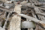 detail of an old rotting wooden pier