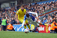 Gaetano Berardi of Leeds United fouls Simeon Jackson of Blackburn Rovers. Skybet football league Championship match, Blackburn Rovers v Leeds United at Ewood Park in Blackburn, Lancs on Saturday 12th March 2016.<br /> pic by Chris Stading, Andrew Orchard sports photography.