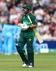 Pakistan's Imam-ul-Haq appears dejected after being caught out by England's Chris Woakes (not pictured) during the ICC Cricket World Cup group stage match at Trent Bridge, Nottingham.