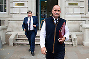 Minister of State for the Home Office Kit Malthouse MP and Minister of State for the Northern Powerhouse and Local Growth Jake Berry, seen leaving the Cabinet office in London, United Kingdom on 16th August 2019.