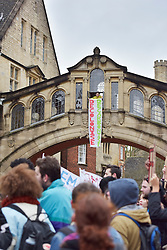 © Licensed to London News Pictures. 09/03/2016 The Bridge of Sighs. Rhodes must fall demonstration and march through Oxford. Protest outside Oriel College followed by a march through the streets of Oxford. Photo credit : MARK HEMSWORTH/LNP