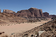 Red sand Desert Landscape. Photographed in Wadi Rum, Jordan in March