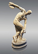 Roman sculpture of a Discus Thrower, Paros marble made in the mid 2nd cent AD excavated from the Villa Palombara, Esquilino, Rome. The Disus Thrower statue is almost the only fully preserved example of its type, the statue is a faithful copy of one of the most admired works of antiquity; the bronze discobolus by Greek sculptor Myron circa 450 BC. The statue depicts the moment preceding the release of the discus, the athlete appears to move in the surrounding space with a complex action, exemplifying the Hellenistic experimentation of the plastic reprentation of the human body. Inv 126371, The National Roman Museum, Rome, Italy .<br /> <br /> If you prefer to buy from our ALAMY PHOTO LIBRARY  Collection visit : https://www.alamy.com/portfolio/paul-williams-funkystock/roman-museum-rome-sculpture.html<br /> <br /> Visit our ROMAN ART & HISTORIC SITES PHOTO COLLECTIONS for more photos to download or buy as wall art prints https://funkystock.photoshelter.com/gallery-collection/The-Romans-Art-Artefacts-Antiquities-Historic-Sites-Pictures-Images/C0000r2uLJJo9_s0