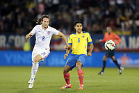 Fotball<br /> USA v Ecuador<br /> 10.10.2014<br /> Foto: imago/Digitalsport<br /> NORWAY ONLY<br /> <br /> United States Mix Diskerud (8) and Ecuador s Christian Noboa (6) prepare for the ball. The Men s National Team of the United States and the Men s National Team of Ecuador played to a 1-1 draw in an international friendly at Rentschler Field in East Hartford, CT. <br /> <br /> Mikkel Mix Diskerud