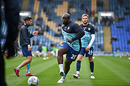 Wycombe Wanderers Forward, Adebayo Akinfenwa (20) warming up during the EFL Sky Bet League 1 match between Portsmouth and Wycombe Wanderers at Fratton Park, Portsmouth, England on 22 September 2018.