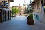 Empty Placa Octavia in Sant Cugat del Valles, a normally bustling city of some 90,000 people outside Barcelona, on the day before Spain exerted a state of Emergency to deal with the spread Coronavirus. Spain is one of the worst affected countries. Schools and retail businesses are closed, except for supermarkets and pharmacies.