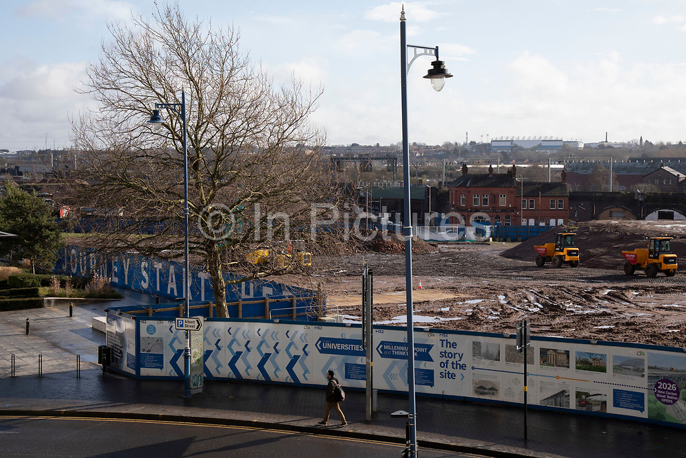 Construction site for the HS2 mainline station at Curzon Street on 13th February 2020 in Birmingham, England, United Kingdom. The Curzon Street Masterplan covers a 141 hectare area of regeneration, focussed on HS2 Curzon Street station in Birmingham city centre, combined with approximately 700 million in investment into the surrounding area including new homes and commercial developments. High Speed 2 is a partly planned high speed railway in the United Kingdom with its first phase in the early stages of construction, the second phase is yet to receive full approval and the third is subject to merging with Northern Powerhouse Rail, a separate project.