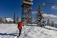 Ski Touring on Firefighter Mountain in the Flathead National Forest, Montana, USA MR