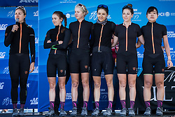 May 18, 2018 - South Lake Tahoe, California, U.S - Friday, May 18, 2018.Members of Team Illuminate (USA) are  introduced prior to Stage 2 of the Amgen Tour of California Women's Race empowered with SRAM, which starts and finishes in South Lake Tahoe, California...BIB, NAME, NAT.91, HARVEY, NZL.92, ANDERSON, CAN.93, BEAUMONT, CAN.94, CALDWELL, USA.95, KASHIKI, JPN.96, MILLARD, USA (Credit Image: © Tracy Barbutes via ZUMA Wire)