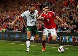 October 9, 2017 - Cardiff, Pays de Galles - Wales' Ben Davies in action with Republic of IrelandÃ•s David Meyler (Credit Image: © Panoramic via ZUMA Press)