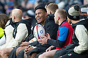 Twickenham, United Kingdom. 7th February, Manu TUILAGI, sitting on the bench after being substituted, during the England vs France, 2019 Guinness Six Nations Rugby Match   played at  the  RFU Stadium, Twickenham, England, <br /> © PeterSPURRIER: Intersport Images