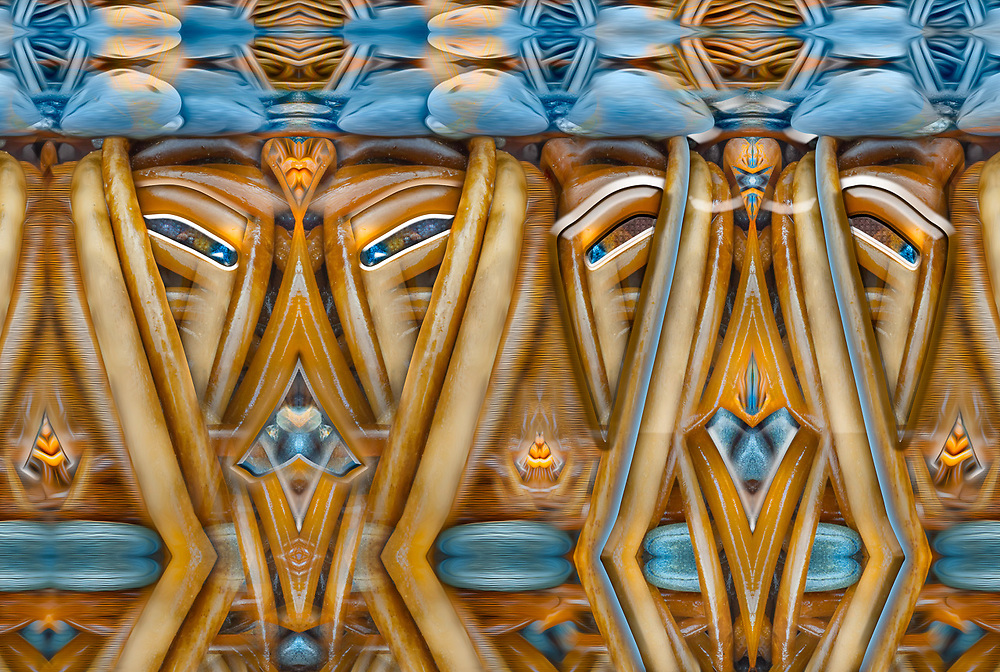 """Bull Kelp Goal Tender Fighters"", derivative image created from a photo of bull kelp (Nereocystis luetkeana), abstract design on beach, overcast light, October, Strait of Juan de Fuca, Clallam County, Olympic Peninsula, WA, USA"