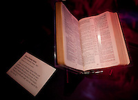 Elvis Bible on display at The Rock and Roll Hall of Fame Annex in New York City..(Photo by Robert Caplin)..