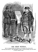 "The First Witness. (Before the Standing Committee on the Larceny Act (1861) Amendment (Use of Firearms) Bill.) Bill Sykes (injured innocent). ""'Cat' be blow'd!"" (Pause.) ""'P-o-on my word!—Do they want to make a brute o' me?"""
