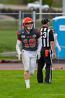 KELOWNA, BC - SEPTEMBER 22: Conor Richard #10 of Okanagan Sun celebrates a touchdown against the Valley Huskers at the Apple Bowl on September 22, 2019 in Kelowna, Canada. (Photo by Marissa Baecker/Shoot the Breeze)