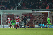 Wrexham's Gerry McDonagh shoots at goal scores a goal 3-1 during the Vanarama National League match between Wrexham FC and Forest Green Rovers at the Racecourse Ground, Wrexham, United Kingdom on 26 November 2016. Photo by Shane Healey.