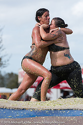 Nikki Panagakos and Amanda Ibarra battle it out at the Womens Cole Slaw Wrestling at Sopotnicks Cabbage Patch Bar, New Smyrna Beach, during Daytona Bike Week's 75th Anniversary event. FL, USA. Saturday March 12, 2016.  Photography ©2016 Michael Lichter.